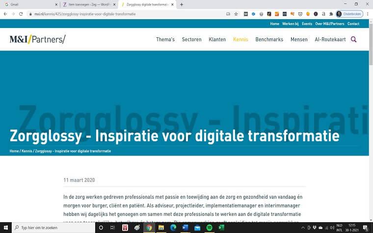 Zorgglossy digitale transitie zorg
